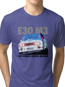 BMW E30 M3 Touring Car Racer - Black Text Tri-blend T-Shirt