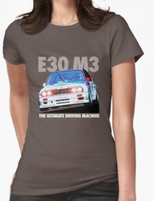BMW E30 M3 Touring Car Racer - White Text Womens Fitted T-Shirt