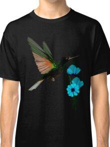 Green Hummingbird-Blue Flowers Classic T-Shirt