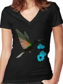 Green Hummingbird-Blue Flowers Women's Fitted V-Neck T-Shirt