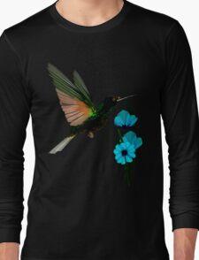 Green Hummingbird-Blue Flowers Long Sleeve T-Shirt