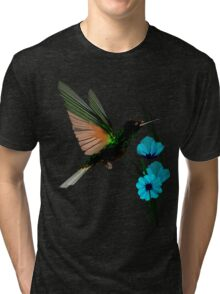 Green Hummingbird-Blue Flowers Tri-blend T-Shirt