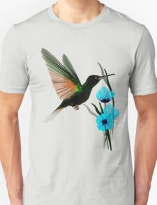 Green Hummingbird-Blue Flowers T-Shirt