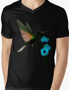 Green Hummingbird-Blue Flowers Mens V-Neck T-Shirt