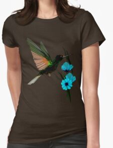 Green Hummingbird-Blue Flowers Womens Fitted T-Shirt