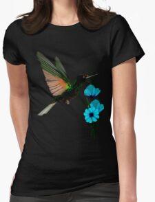 Green Hummingbird-Blue Flowers T-Shirt