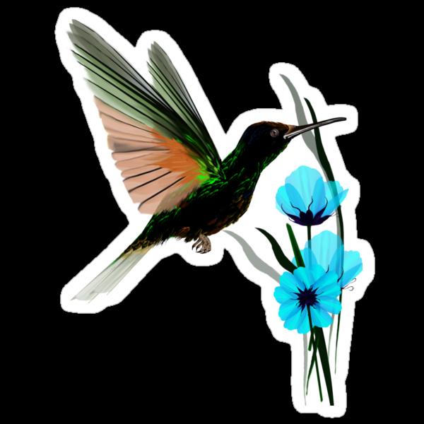 Green Hummingbird-Blue Flowers by Lotacats