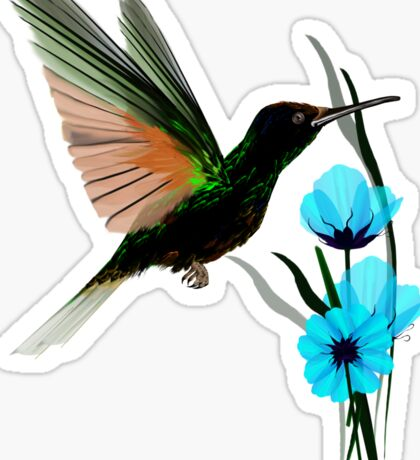 Green Hummingbird-Blue Flowers Sticker