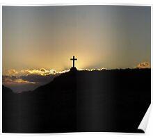 Cross in sunset on Llanddwyn Island Poster