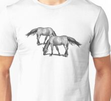 Horses Grazing: Charcoal Drawing Unisex T-Shirt