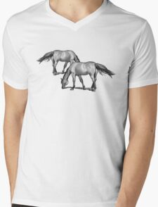 Horses Grazing: Charcoal Drawing Mens V-Neck T-Shirt