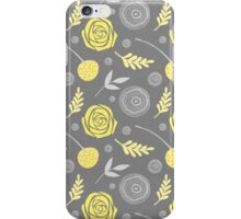 Floral yellow grey iPhone Case/Skin