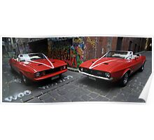 Two 70's convertable mustangs Poster