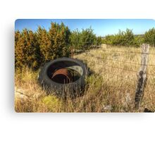 Tractor Tire & Barbed Wire Fence Canvas Print