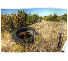 Tractor Tire & Barbed Wire Fence Poster