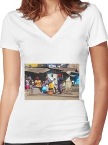 People collecting water in Nairobi - KENYA Women's Fitted V-Neck T-Shirt