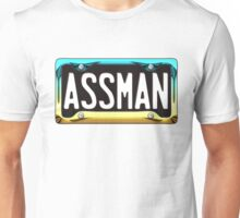 SHINY BLUE/GOLD LICENSE PLATE HOLDER - ASSMAN Unisex T-Shirt