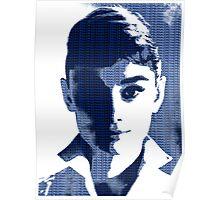 Audrey Hepburn White Shirt Portrait Blue  Poster
