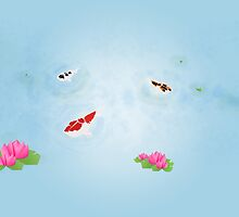 Origami Garden - Koi and Waterlilies by imagerially
