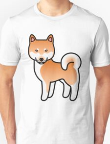 Red Shiba Inu Dog Cartoon T-Shirt