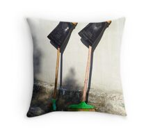 Boots on Brooms Throw Pillow