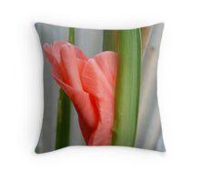 Pink Gladioli Bud Throw Pillow