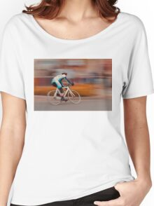 A Lone Cyclist Heads into the Final Lap Women's Relaxed Fit T-Shirt