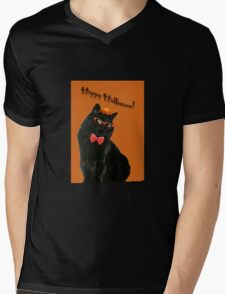Halloween Card - Black Cat Ready to Party Mens V-Neck T-Shirt