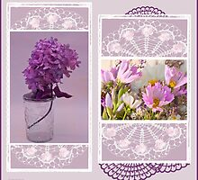 Lilacs And Cosmos Photo Picture Collage  by Sandra Foster