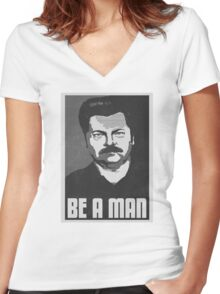 Be A Man- Black/White  Women's Fitted V-Neck T-Shirt