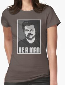 Be A Man- Black/White  Womens Fitted T-Shirt