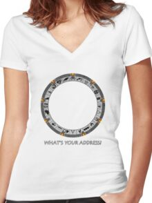 OmniGate (What's Your Address? version) Women's Fitted V-Neck T-Shirt