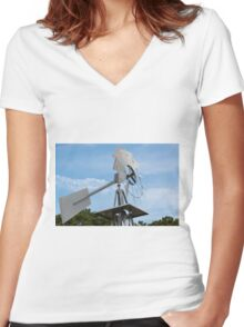 Farm Windmill Women's Fitted V-Neck T-Shirt