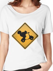 Squirrel on Scooter Warning Sign Women's Relaxed Fit T-Shirt