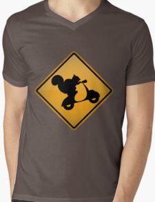 Squirrel on Scooter Warning Sign Mens V-Neck T-Shirt