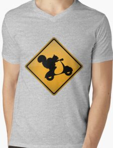 Squirrel on Scooter Warning Sign Mens V-Neck T-Shirt