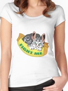 Cat - Fight me Women's Fitted Scoop T-Shirt