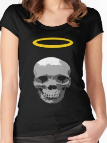 dark skull with halo Women's Fitted Scoop T-Shirt