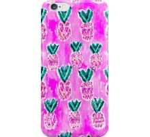 Pink Tribal Pineapples Watercolor iPhone Case/Skin
