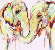 Pair of Elephants-Pastel and Pen Sketch by sheilasinghal