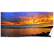 Fiery Panoramic Sunset Poster