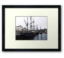 Tall ships in Charlestown Harbour, Cornwall, England. Framed Print