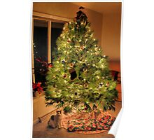 Christmas Tree with Kitty and Gifts Poster