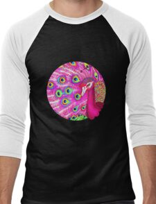 Pink peacock Men's Baseball ¾ T-Shirt