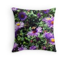 Single Bee on Flowers Throw Pillow