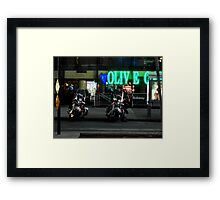 Cops Outside of Olive Garden by the Subway, New York Framed Print