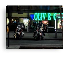 Cops Outside of Olive Garden by the Subway, New York Canvas Print