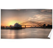 Sunset over Sydney Harbour Poster