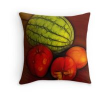 Melon and Apple and Two Nectarines Throw Pillow