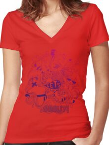 Hey let's shout Women's Fitted V-Neck T-Shirt